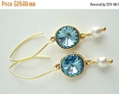 20% Off Sale Aquamarine Rivoli Swarovski Crystal Pewter Antiqued Gold Drop Setting Gold Filled Earrings