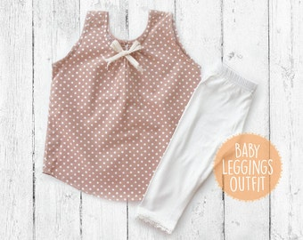 Baby and Toddler Leggings Outfit, Light Brown Polka dots Tank Top and White Leggings for girls, Baby Girl Leggings Set