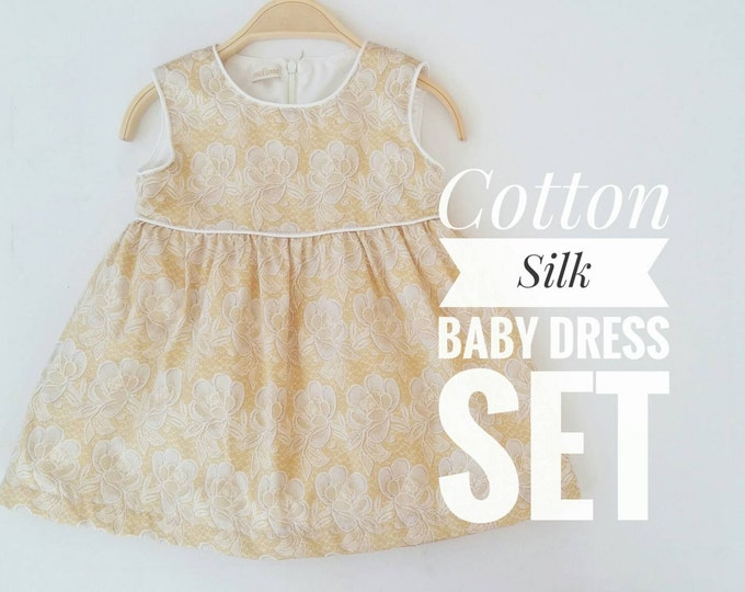 Little Girl Gold Floral Dress, Baby Cotton Silk Dress and ruffles diaper cover, Baby Sleeves Summer Dress