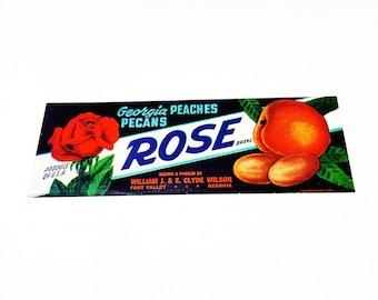 Vintage New Old Stock Unused ROSE Georgia Peaches Pecan Fruit Crate Label