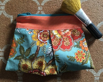 Teal and orange pleated pouch or makeup bag
