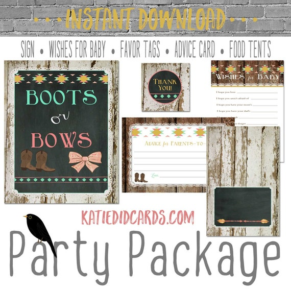 Boots or Bows gender reveal 1439 package AS IS Instant Download Welcome sign wishes for baby favor tag tent advice card burlap chalkboard