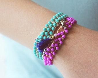 Silver and Turquoise Bracelet Set, Boho Wrap Bracelet, Beaded Bracelet, Boho Bracelet, Beaded Wrap Bracelet, Stacking Bracelet, Gift for Her