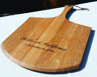 Wine Barrel Head Bakers Paddle, Serving Tray, Gift for Foodies, Cheese Board