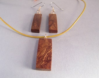 Wood Anniversary Jewelry SHIPS IMMEDIATELY Handmade Copper Desert Ironwood Leather Necklace Earrings