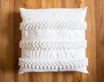 "White Pom Pom Pillow Cover- 20"" x 20"""