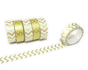 Chevron Gold Foil Washi Tape, Planner Washi Tape, Japan Sticky Adhesive Tape 15mm x 10mt, Decorative Tape, Gold Foil Chevron Planner Tape