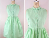 Vintage 1950s Dress / Mint Green / Sleeveless Dress / Summer Dress / Cotton / Medium