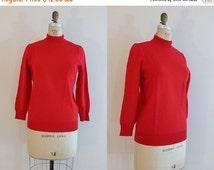 SALE 20% OFF 1950s Red Sweater // Vintage 1950s Sweater // Mock Turtleneck // Medium Large
