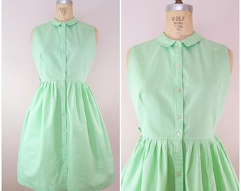 Vintage 1950s Dress / Mint Green / Sleeveless Dress / Summer Dress / Cotton / Medium