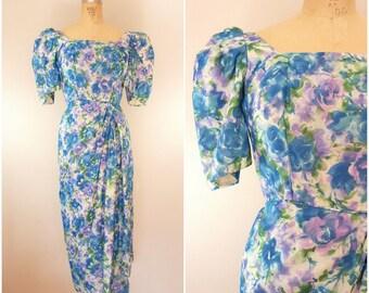 Vintage 1950s Bombshell Dress / Floral Dress / Draped Dress / Small Medium