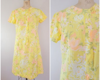 Vintage 1960s Dress / Yellow Floral / Day Dress / Shift Dress / Bill Sims House Dress / Large