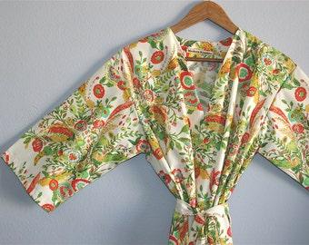 Kimono Robe. Kimono. Dressing Gown. Bridal Robes. Bridesmaid Robes. Floral Bridesmaid Robe. Modern Sunburst.  Knee or Mid Calf Length.
