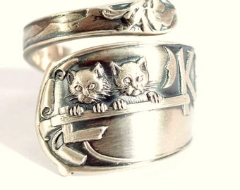 Catskill Mountains, Spoon ring Sterling Silver, Catskill Jewelry, Cougar Kitten, New York Ring, Personalized Jewelry, Custom Ring Size, 5848