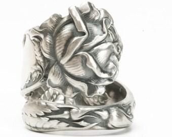 Silver Rose Ring, Spoon Ring Sterling Silver, Rose Flower Ring, Chunky Ring, Rosebud, Gardener Gift for Gardener, Bridal Rose Alvin (5934)