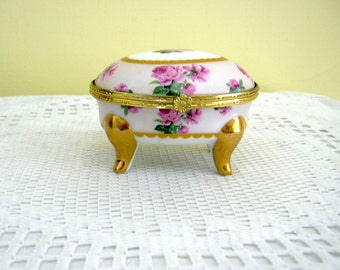 Vintage Porcelain Hinged  Lid Oval Trinket Jewelry Keepsake Treasure Box Floral Rose Decoration Collectible Shabby Chic