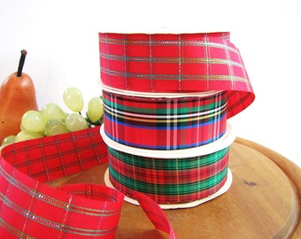 Tartan Plaid Ribbon, 3 Different Plaids, Red Green Blue Black Yellow or Metallic Gold ... Acetate Craft Ribbon, Holiday Ribbon, 7 Yards