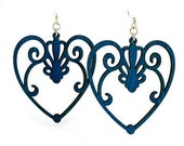 Scroll Heart -  Laser Cut Earrings from Reforested Wood