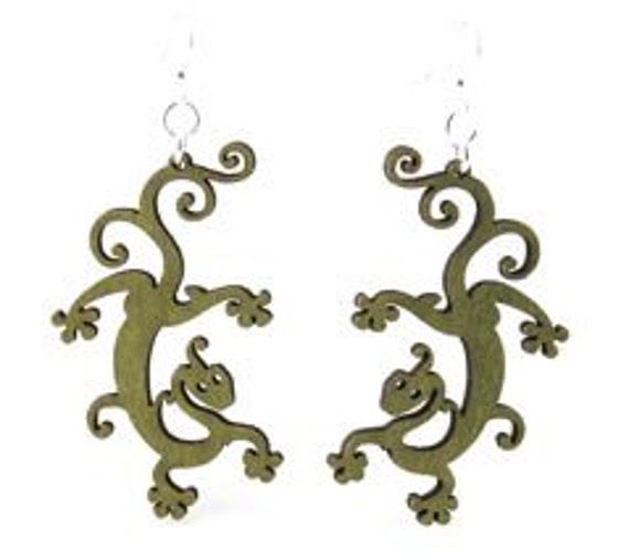 Geckos - Laser Cut Wood Earrings