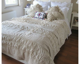 Ruched bedding-Shabby cottage chic -Duvet cover Full Queen super cal King custom bedding Turkey Nurdanceyiz-  country home linen bedding