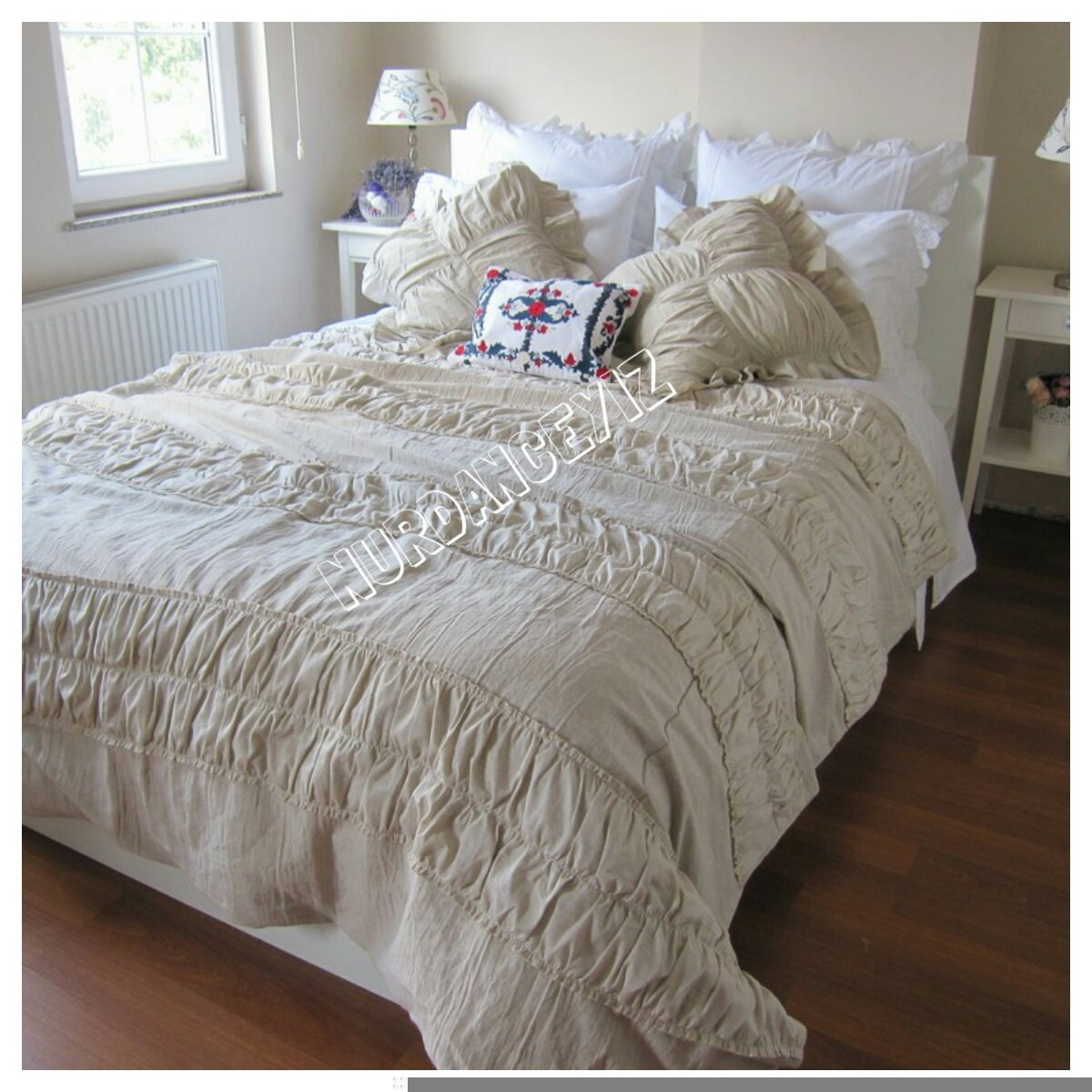 ruched bedding shabby cottage chic duvet cover full queen. Black Bedroom Furniture Sets. Home Design Ideas