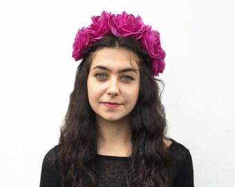 Rose Crown - Rose Headpiece, Purple, Rose, Flower Crown, Large, Floral Crown, Rose Headpiece, Fuchsia, Rose Floral Crown, Bohemian, Festival