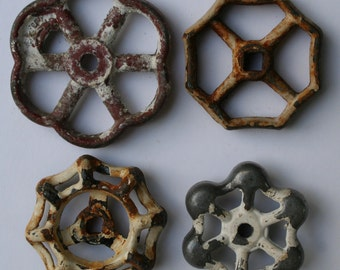 Vintage Faucet Handles-Sweet Snowy Patina Sampler-Shipping Special- 4 Shabby Chic -Valve Handles-Shabby Chic,Reclaimed,Funky ,Garden Knobs