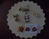 Collection of Four Vintage Christmas Brooches or Pins and Christmas Necklace/Earrings
