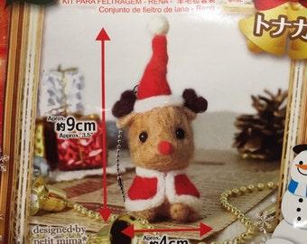 Japanese Christmas Animal Craft Kit of Wool Felt - Reindeer