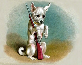Chihuahua Dog with a Gun - Vintage Style Greeting Card