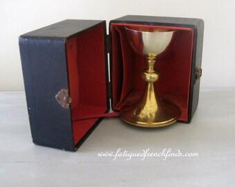 Antique French Sterling Silver Minerve 2 & Gold Metal Chalice by Villard et Fabre of Lyon in Original Case