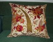 Beautiful  handmade     Bukhara  flowers mystical birds pattern Suzani Pillow Cover cushion  original silk  19 x 19 inch
