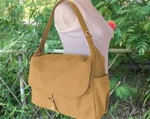 On Sale 10% off Yellow canvas shoulder bag, messenger bag, diaper bag, travel bag for women