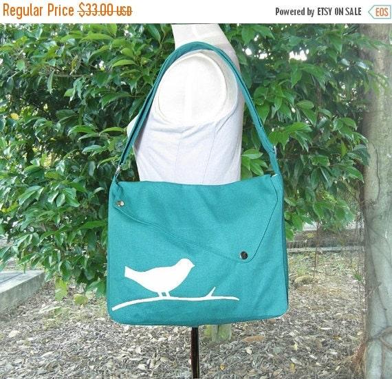 Summer Sale 10% off Turquoise green cotton canvas messenger bag / shoulder bag / bird messenger /diaper bag / cross body bag