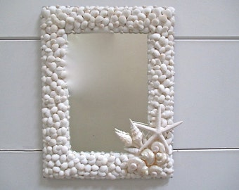 Nautical Shell Mirror, White/Champagne, Starfish