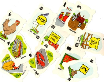 11 Vintage Highway Travel Game Cards - Mixed Media, Altered Art, Collage, Scrapbooking, Assemblage Supplies