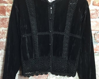 Vintage 80s 90 s Black Velvet Jacket Blazer with Crochet Trim