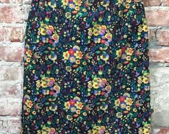 Vintage Corduroy Pencil Skirt Bright Multi- Colour Foral Print & Front Pockets