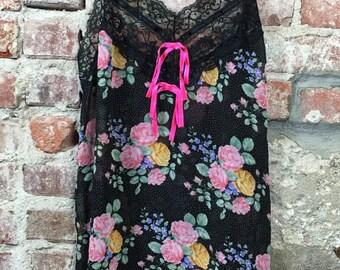 Vintage 60s 70s Women's Lingerie Slip Black with Floral Print Neon Pink Bows Size Medium