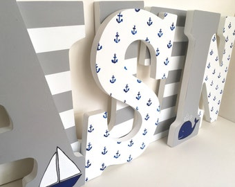 Navy, White, and Grey Nautical Anchor Letters - Boy Nursery Wall Decor, nine inch whale sailboat letters