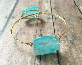 Blue wire wrapped mix and match stackable bangle