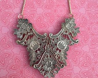 Gorgeous antique gold lace bib necklace