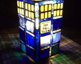 stained glass doctor who TARDIS  luminary lantern ambiance lighting