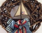 Sailboat Wreath-Rustic Sailboat-Nautical Wreath with Boat-Americana-Boat Wreath- Sailor
