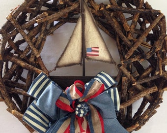 Sailboat Wreath-Rustic Sailboat-Nautical Wreath with Boat-Americana-Boat Wreath- Sailor