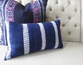 Vintage Indigo batik Hmong cushion cover, Handwoven Hemp Fabric,Throw Pillow,Decorative Pillows