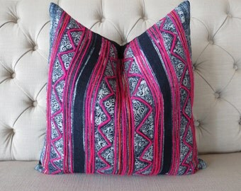 "20""x20"" Vintage Batik Handwoven Hemp, Pillow Cover, Cushion Cover, Tribal Throw Pillow Case, Sofa Cushions"
