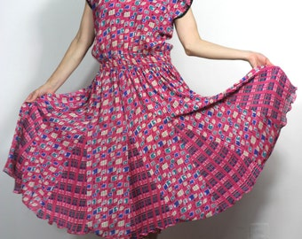Vintage 80s Dress Bohemian Mixed Print Ruffles Tie Neck Tassel Boho Midi Avant Garde Dress