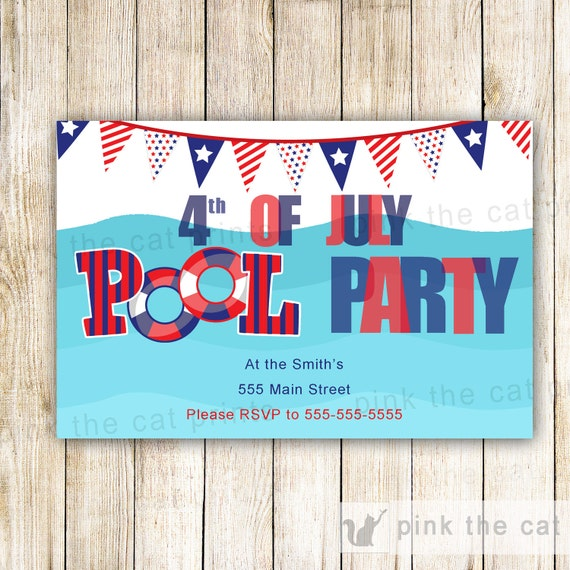 4 july invitation pool party adult kids birthday party for 4th of july party ideas for adults