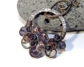 Oxidised copper blue goldstone Gemstone & crystal necklace